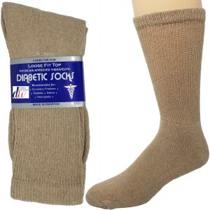 Diabetic Crew Socks - Brown