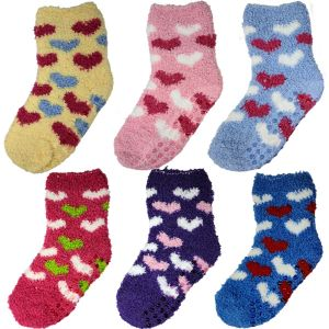 Kids Heart Fuzzy Socks
