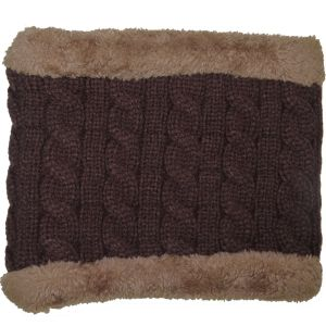 Winter Fur Lined Neck Warmer Brown