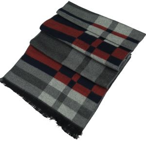 Mens Winter Cashmere Scarf Grey/Blue/Rust