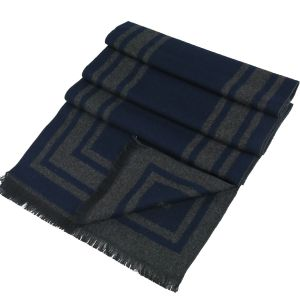 Mens Winter Cashmere Scarf Grey/Blue-1