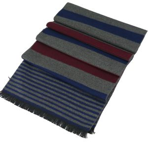 Mens Winter Cashmere Scarf Blue/Grey/Red