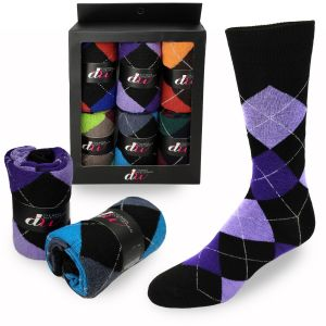 Mens Dress Socks - Bright Argyle