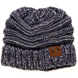 Winter Beanie Hat Kids Blue/Silver Metallic