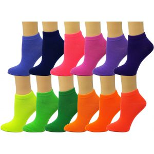 Ankle Summer Socks -Neon Solid-Womens Size-9-11