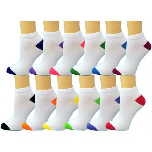 Ankle Summer Socks White/Colored Heel N Toe Case