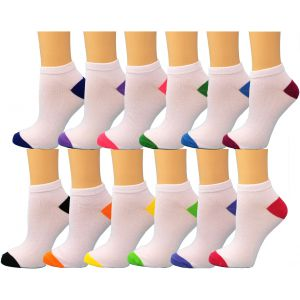 Ankle Summer Socks -White/Colored Heel N Toe-Womens Size-9-11
