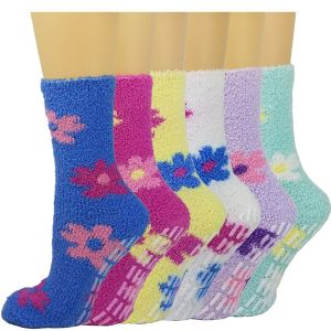 Fuzzy Women Flowers Gripper Socks-6 Pack