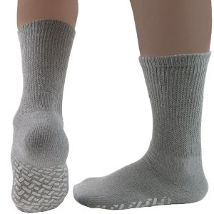 Diabetic Crew Gripper Socks Grey