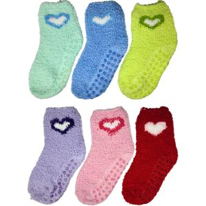 Kids Solid Heart Fuzzy Socks