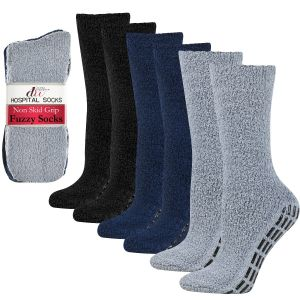 Cozy Hospital Socks - Black/White/Grey