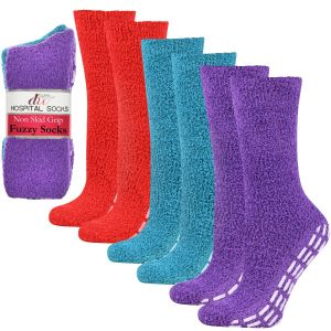 Cozy Hospital Socks - Red/Teal