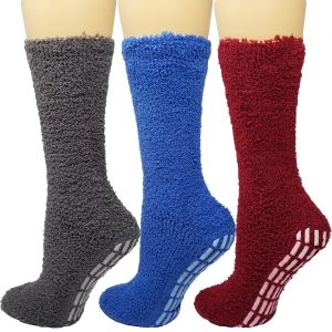 Cozy Hospital Socks Burgundy/Blue Combo