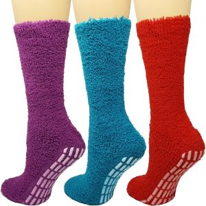 Cozy Hospital Socks Red/Teal Combo