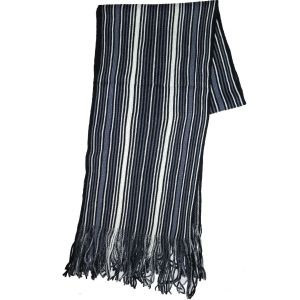 Knit Winter Scarf Blue Striped