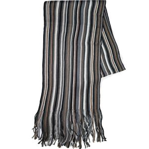 Knit Winter Scarf Camel/Grey Striped