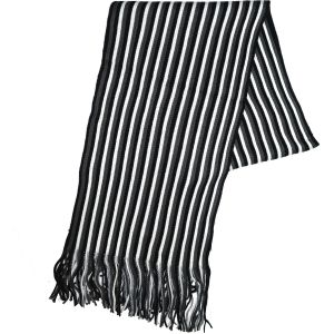 Knit Winter Scarf Black/White Striped