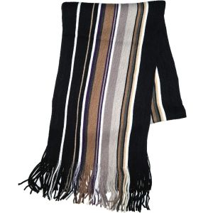 Knit Winter Scarf Camel/Black Striped