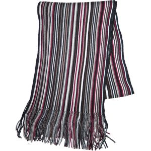 Knit Winter Scarf Burgundy/Colored Striped