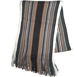 Knit Winter Scarf Beige/Grey Striped