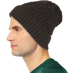 Mens Winter Fur Lined Beanie Hat Brown
