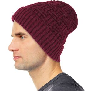 Mens Winter Fur Lined Beanie Hat Burgundy