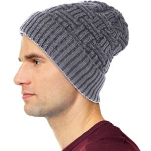 Mens Winter Fur LIned Beanie Hat Grey