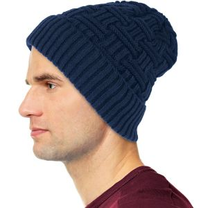 Mens Winter Fur Lined Beanie Hat Navy