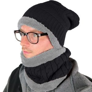 Mens Hat and Neck Beanie Set Black