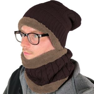 Mens Hat and Neck Beanie Set Brown