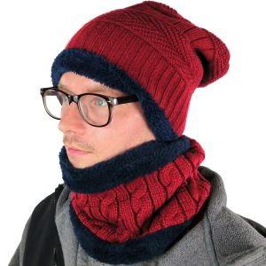 Mens Hat and Neck Beanie Set Burgundy