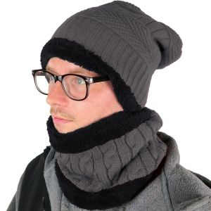 Mens Hat and Neck Beanie Set Grey