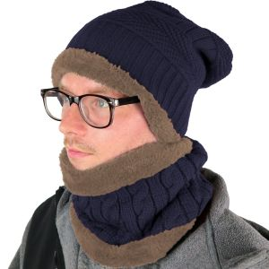 Mens Hat and Neck Beanie Set Navy