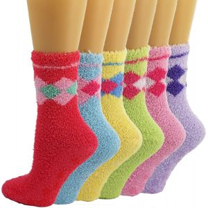 Fuzzy Women Solid Argyle Gripper Socks-6 Pack