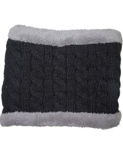 Winter Fur Lined Neck Warmer Black
