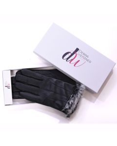 Mens Leather Winter Gloves Fur Lined-Medium
