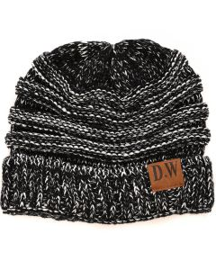 Winter Beanie Hat Kids Black/Silver Metallic