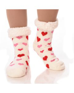 Slipper Socks Hearts With Grips-White Hearts-One Size