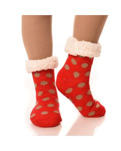 Slipper Socks Polka-Dot With Grips-Red Polka-Dot-One Size