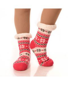 Slipper Socks Striped/Snowflakes With Grips-Coral Striped Snowflake-One Size