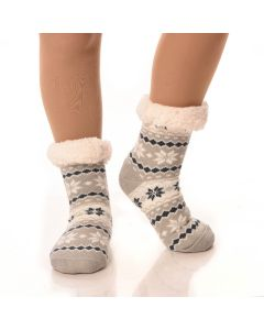 Slipper Socks Striped/Snowflakes With Grips-Grey Striped Snowflake-One Size