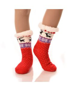 Slipper Socks Winter Dots With Grips-Red WinterDots-One Size