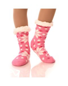 Slipper Socks Snowflakes With Grips-Pink Snowflake-One Size