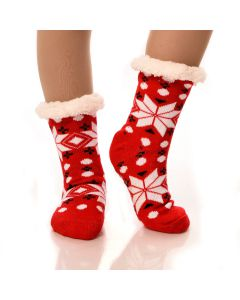 Slipper Socks Snowflakes With Grips-Red Snowflake-One Size
