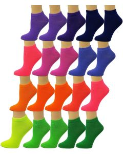 Ankle Summer Socks -Neon Solid-Womens Size-9-11-20 Pack