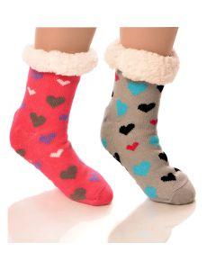 Slipper Socks Hearts With Grips
